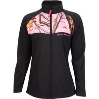 Rocky Women's Full Zip Fleece Jacket, Black Mossy Oak Pink, medium