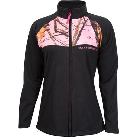 Rocky Women's Full Zip Fleece Jacket, Black Mossy Oak Pink, large