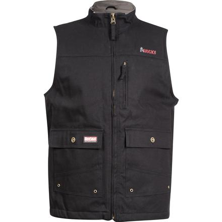 Rocky WorkSmart Men's Canvas Vest, BLACK, large