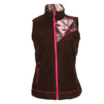 Rocky Women's Full Zip Fleece Vest, Brown MOPink, large