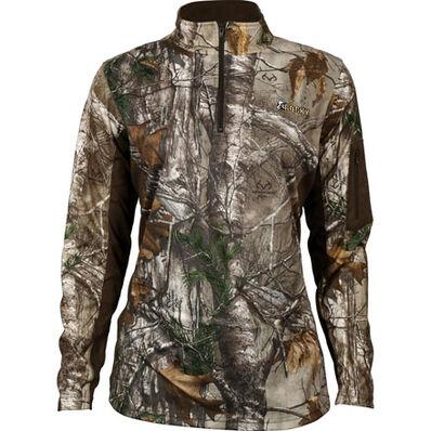 Rocky Women's SilentHunter 1/4 Zip Camo Shirt, Rltre Xtra, large