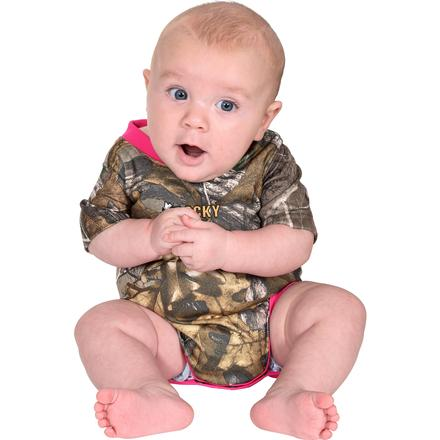 Rocky SilentHunter Baby Camo Onesie, PINK, large