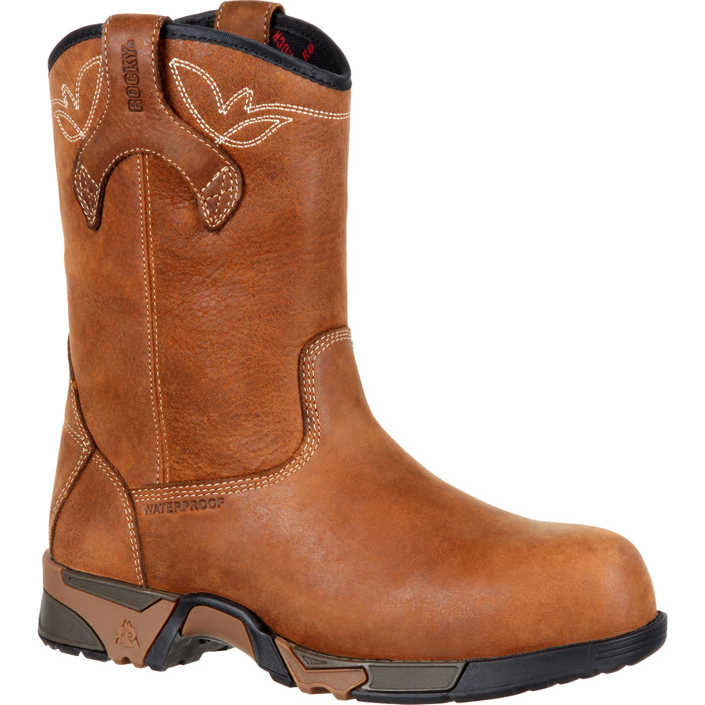 Rocky Women s Aztec Brown Pull-on Composite Toe Waterproof Work Boot ... 320500a672ee