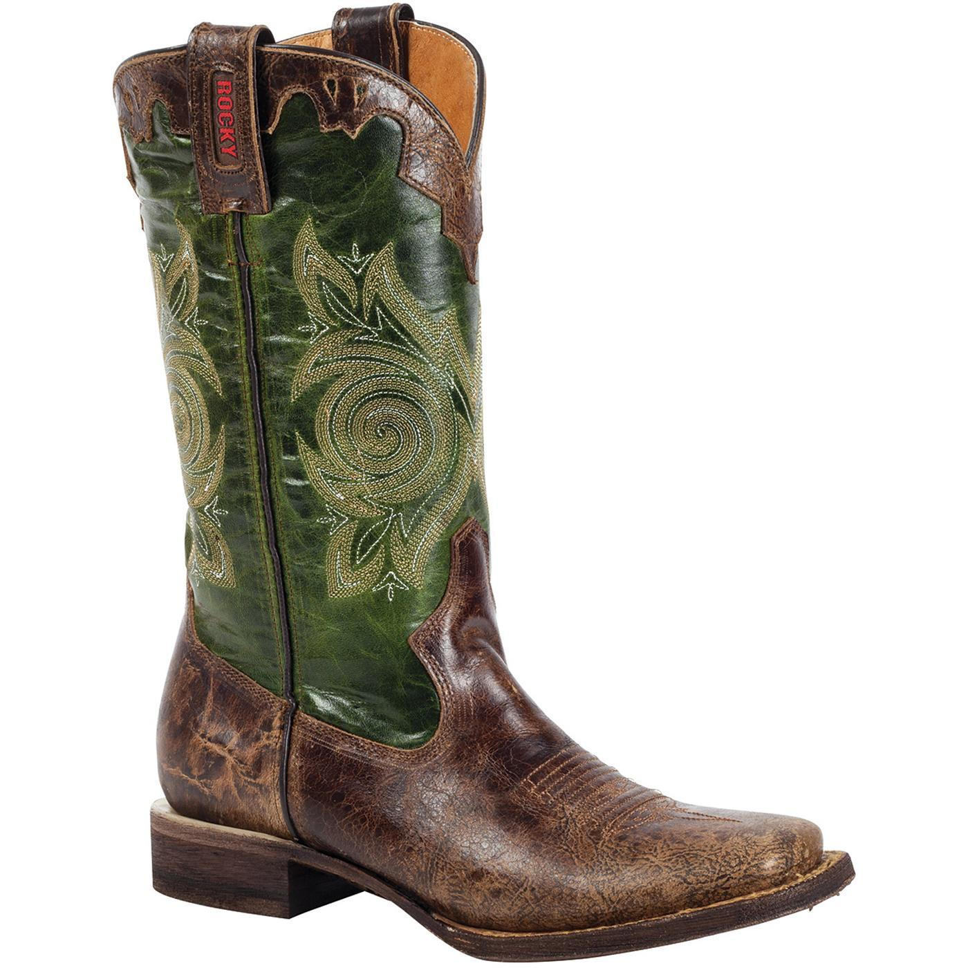 Rocky Handhewn 12 Quot Women S Green Square Toe Western Boots