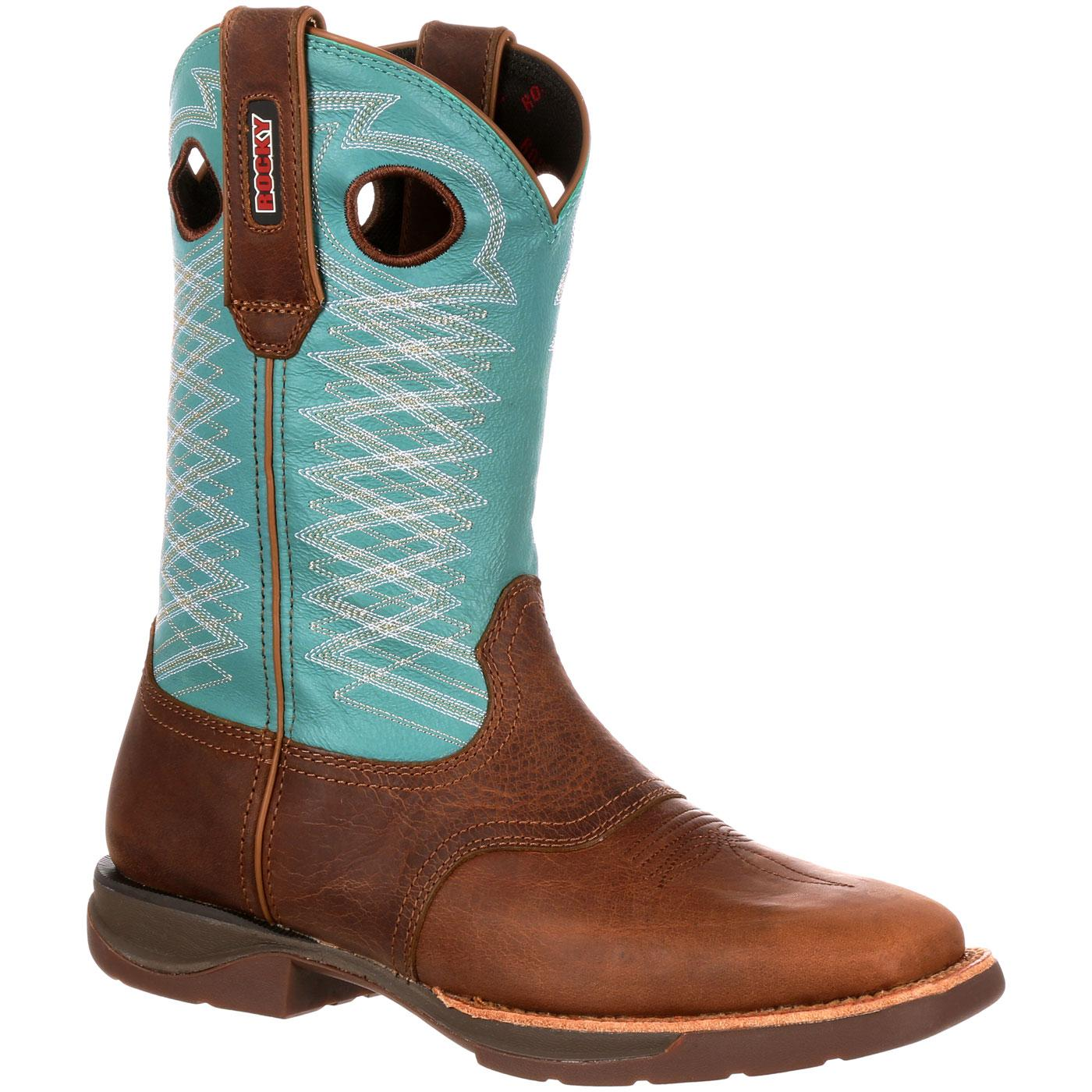 Rocky LT - Women's Brown-Teal Blue Saddle Western Boots