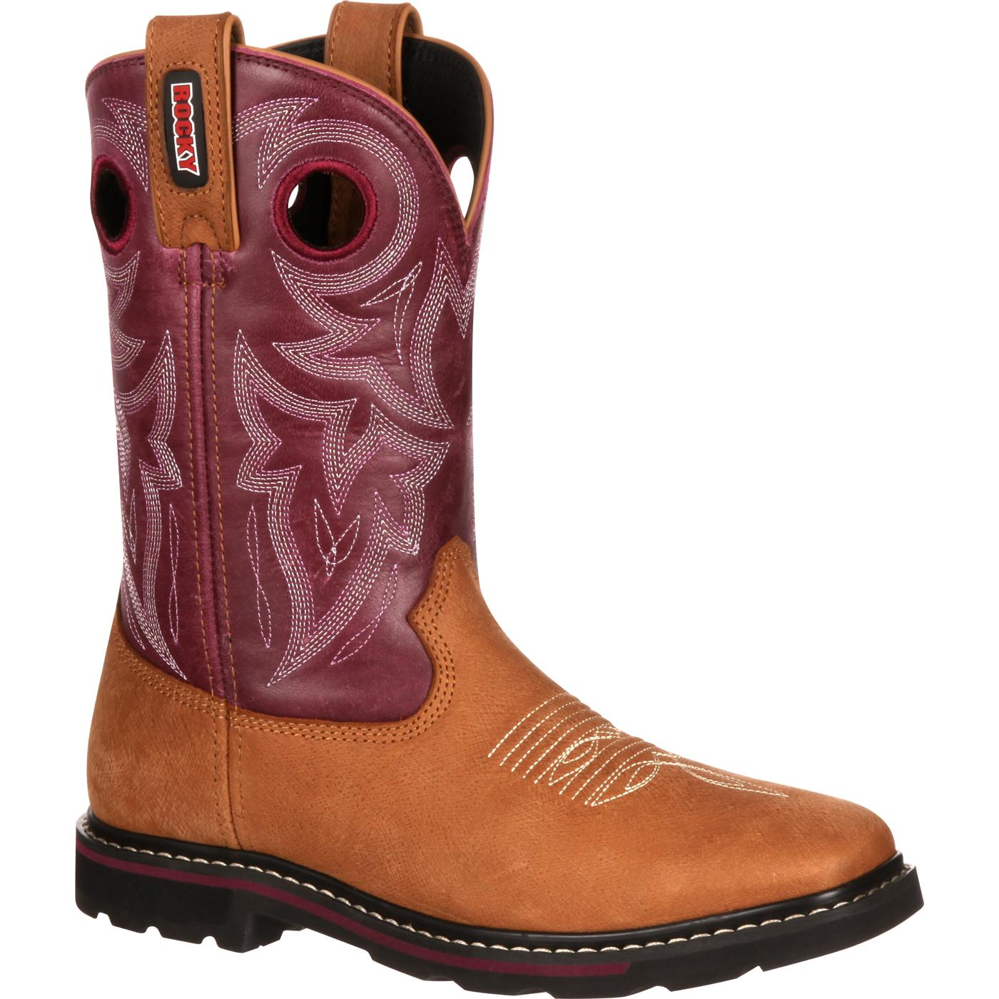 Rocky Women S Farmstead Purple Western Work Boot Rkw0119