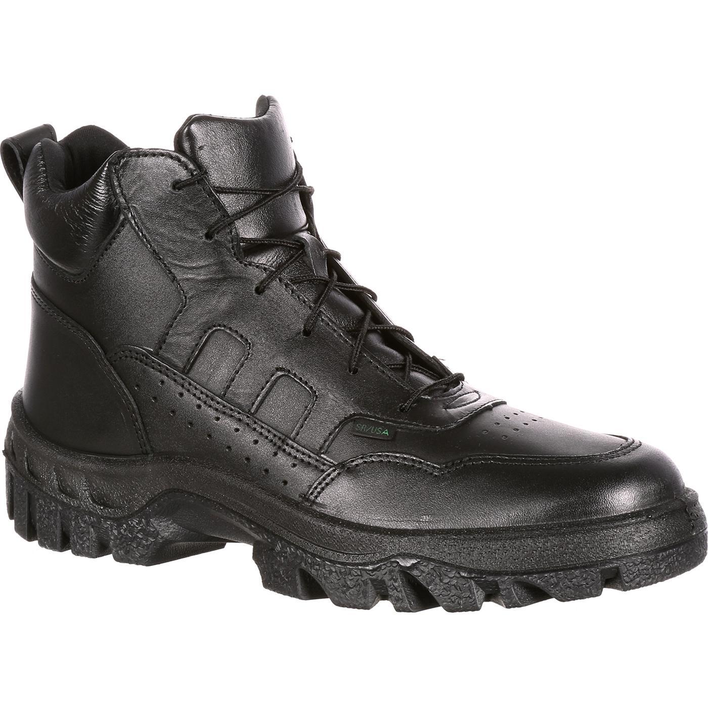 Black Rocky Mens Leather Boots Postal Tmc Plain Toe Hiker