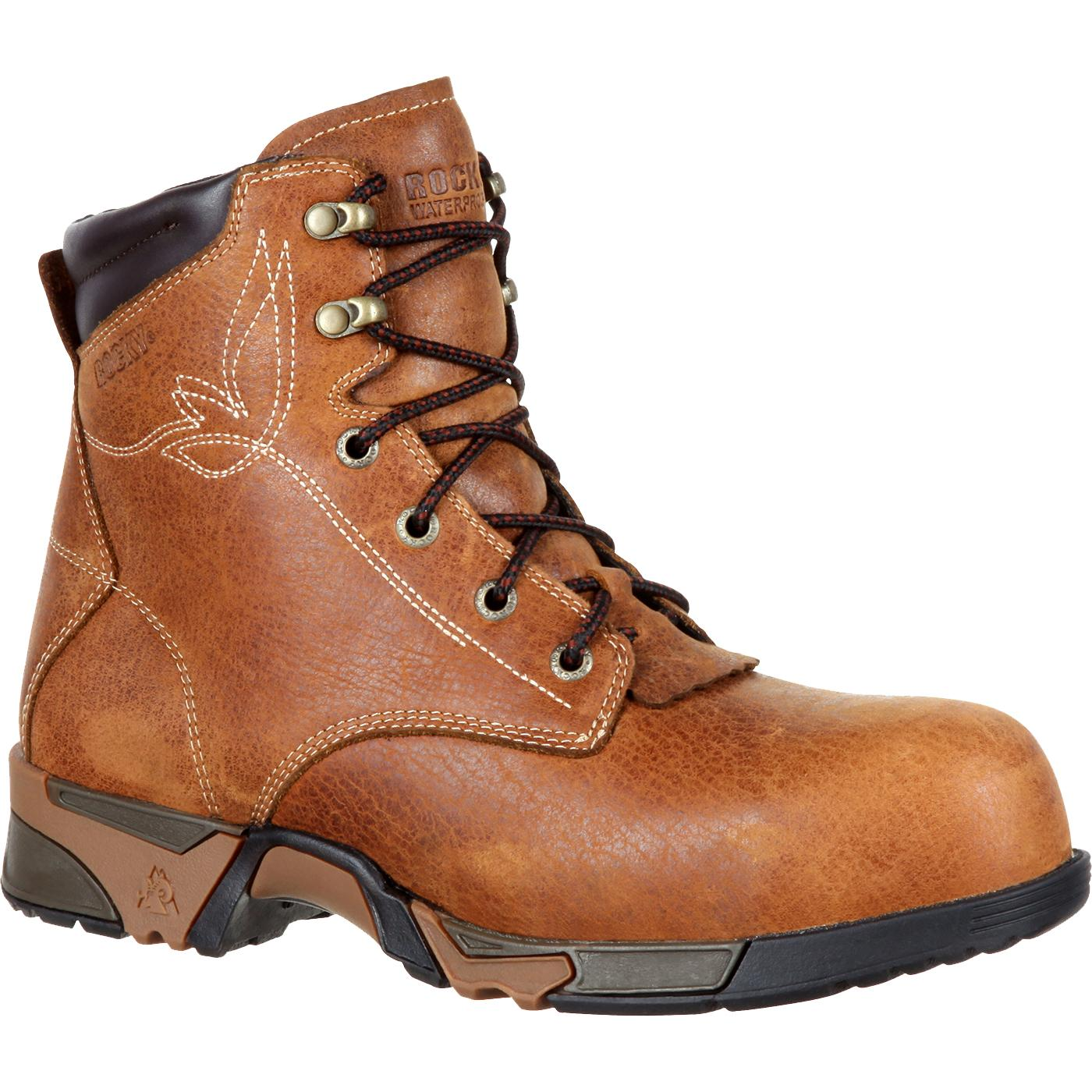 Rocky Women s Aztec Brown Lace-up Composite Toe Waterproof Work Boot ... 8e5ae1882388