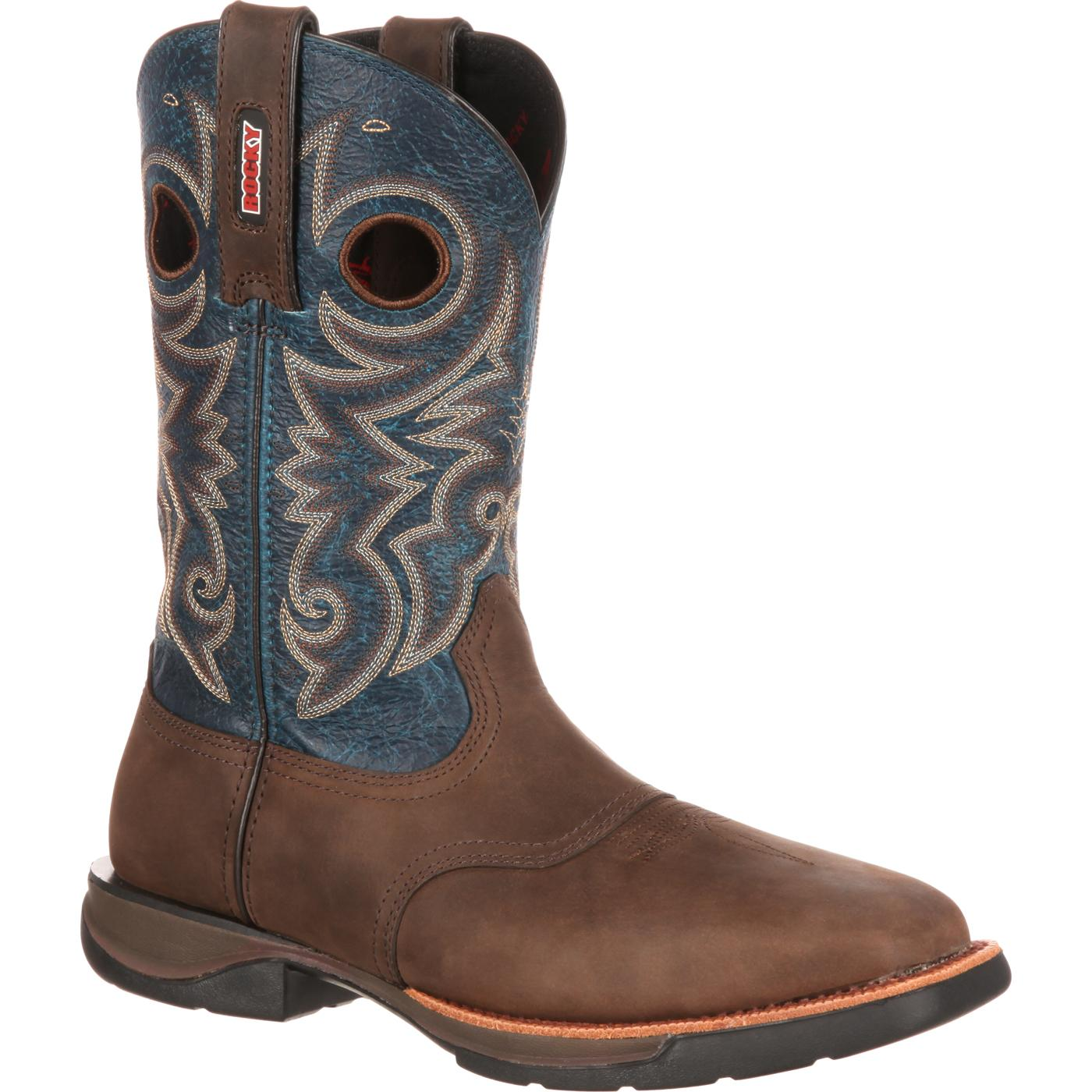 Rocky LT: Men's Steel Toe Blue Brown Saddle Western Boot
