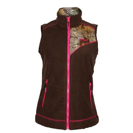 Rocky Women's Full Zip Fleece Vest, Brown w/RLTRE XTRA, large