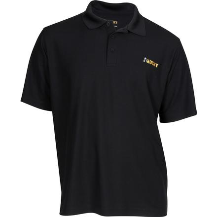 Rocky Logo Short-Sleeve Polo Shirt, BLACK, large