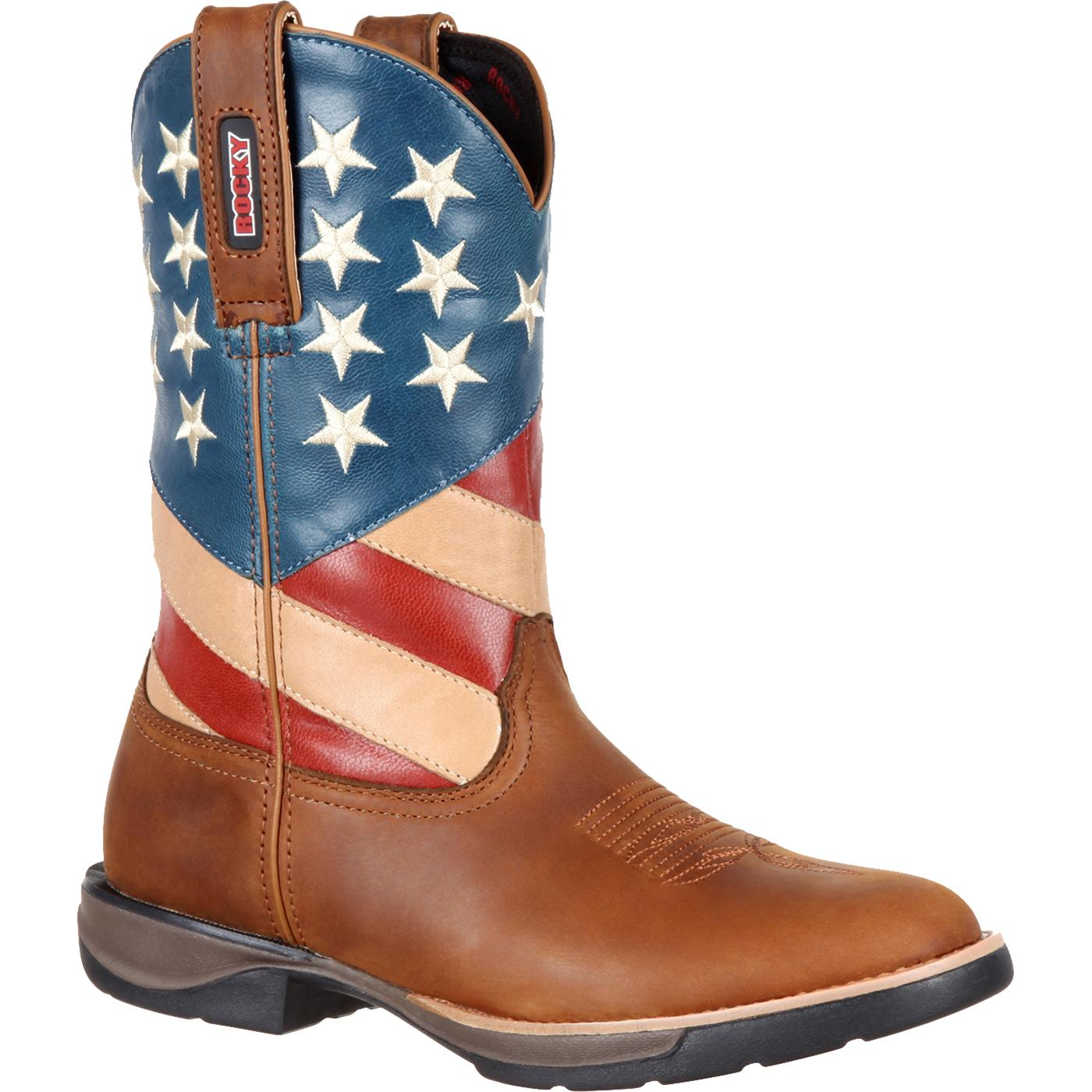 Rocky LT Womens Comfortable Lightweight American flag Western Boot