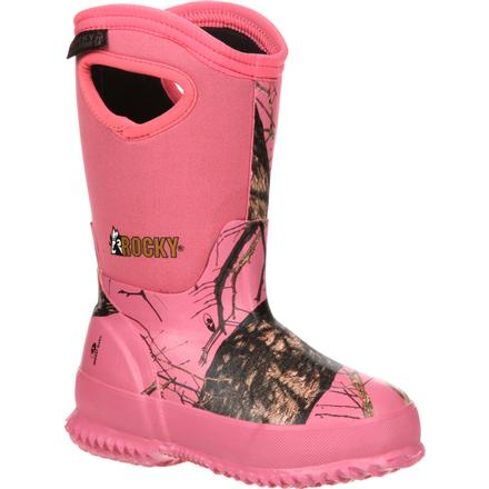 Rocky Core Big Kids' Pink Camo Waterproof 400G Insulated Rubber Boot, , large