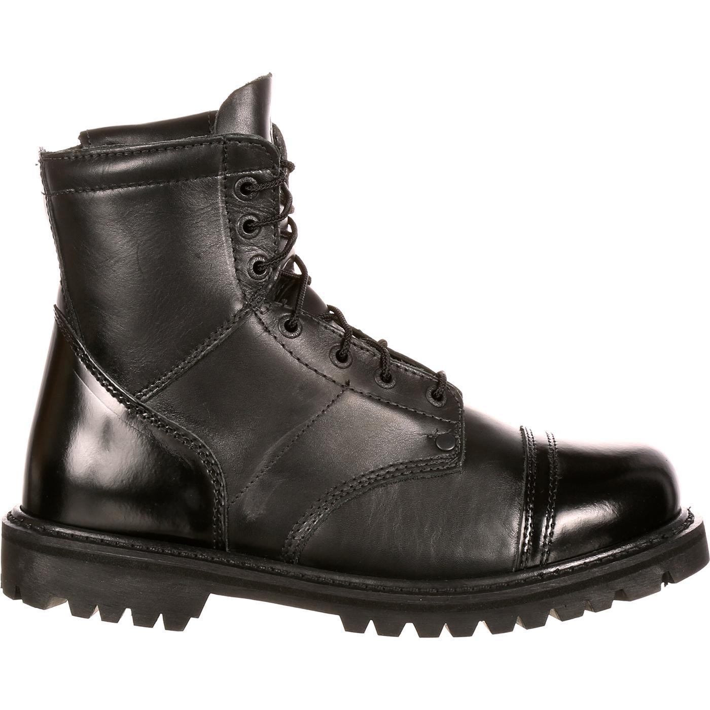 Rocky Duty Boots: Men's Black Side Zipper 7-Inch Jump Boot