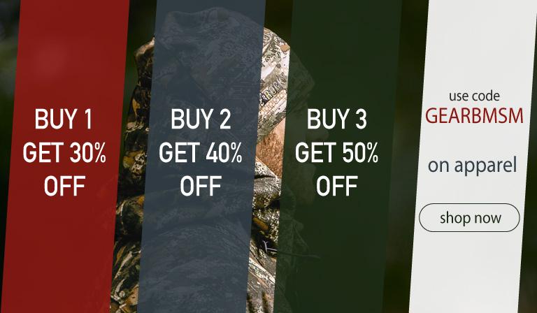 Buy 1, get 30% off. Buy 2, get 40% off. Buy 3, get 50% off. Use code GEARBMSM. Until June 30, 2018.