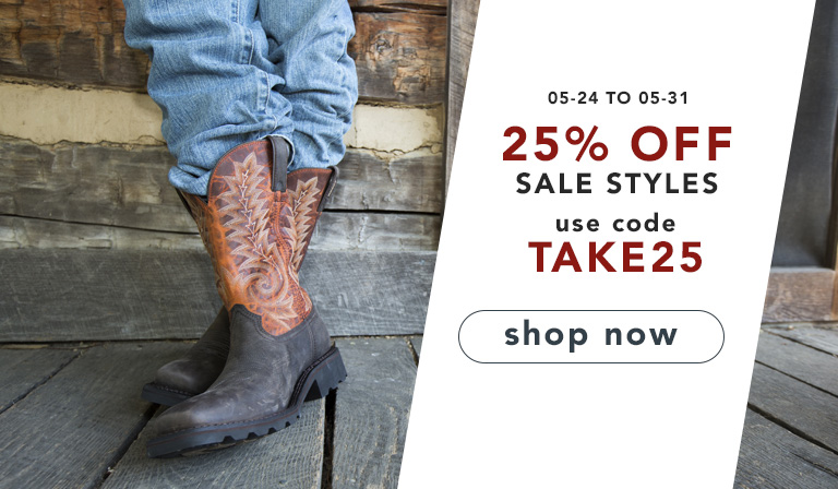 25% off sale styles. Use code TAKE25. Until May 31, 2018.