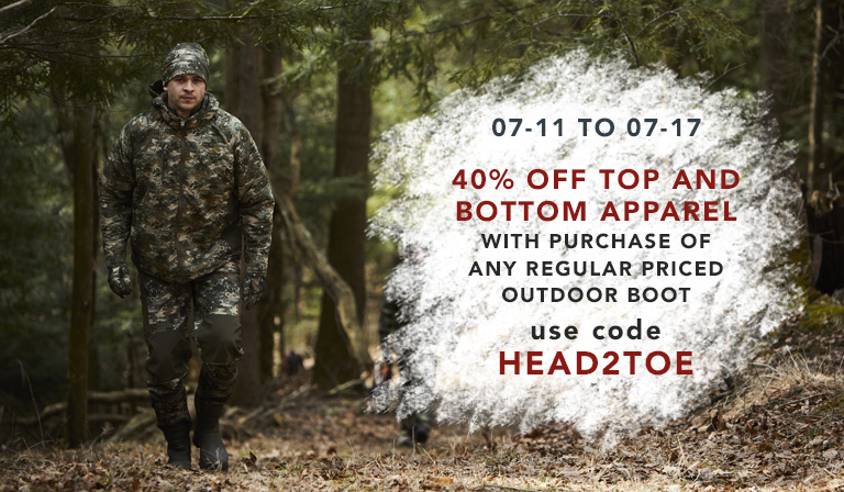 Take 40% off apparel tops and bottoms when you purchase a regularly priced pair of Outdoor boots. Until July 17, 2018.