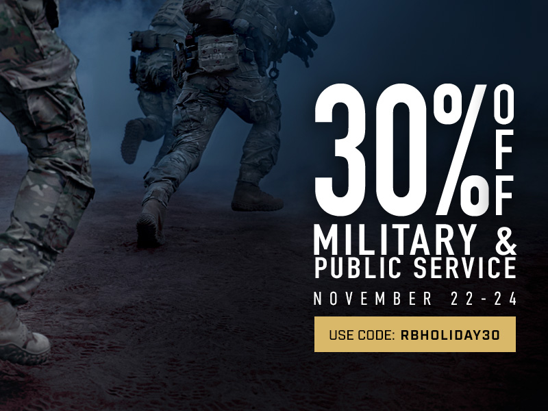 Take 30% off military and public service styles. Use code RBHOLIDAY30 until 24 November 2019 at 11:59pm (EST). Click to shop now.