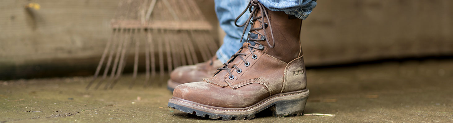rocky square toe logger work boots